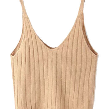 Khaki V-Neck Spaghetti Strap Knitted Crop Top