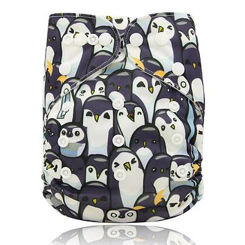 Reusable Cloth Pocket Diaper Cartoon Print Kids Adjustable Nappy Washable Unisex Baby Diapers Cover