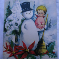 Vintage Christmas postcard.Die cut postcard.3D.Vintage card.Christmas.Gift.Ephemera.Collectible.Snowman.Christmas tree.Uruguay.Angels.Snow.