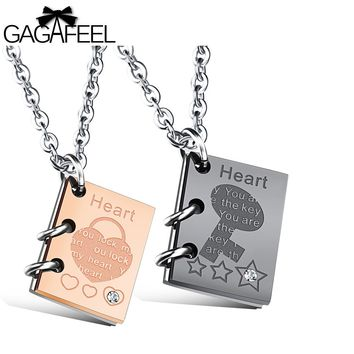 GAGAFEEL Book Jewelry Boy Girl Pendant Custom Engraved Necklace Square Block Lovers Zircon Love Story Words Valentines Gifts