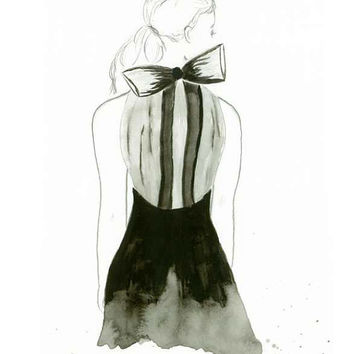 Little Black Bow - Print from original watercolor fashion illustration by Lexi Rajkowski