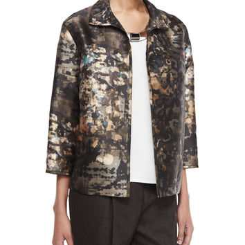 Griffen 3/4-Sleeve Printed Topper Jacket, Size: