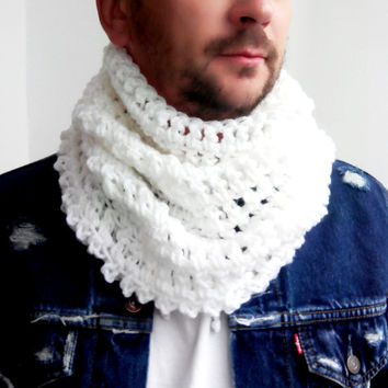 WHITE SCARF MENS Hand Crochet Scarf Soft Infinity Mens Braided Cable Boho Cowl Loop Crochet Slouchy Mens Scarf Slouch Beanie Hand Winter