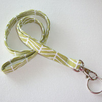 Lanyard  ID Badge Holder -  Lobster clasp and key ring New Thinner  Design - Grass green herringbone