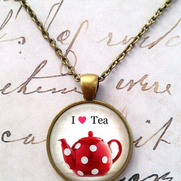 Tea Time Necklace, Steampunk, Alice in Wonderland, Mad Hatter, Once Upon a Time T51
