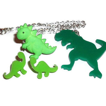 Dinosaur Gift Set, Quirky Jewelry, Ring, Stud Earrings and Laser Cut Necklace