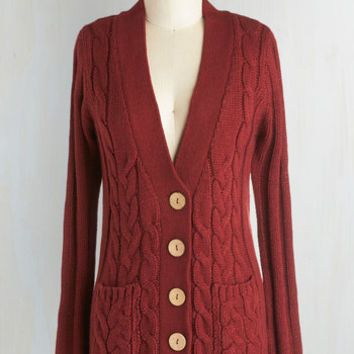 Scholastic Mid-length Long Sleeve Your Fireside of the Story Cardigan in Rust