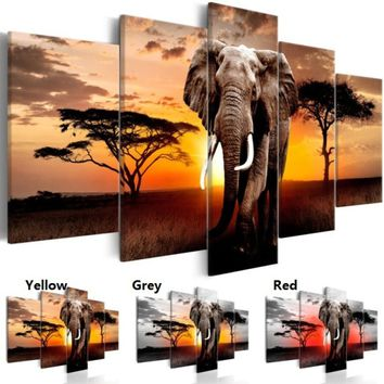 5pcs/set Elephant Oil Painting (No Frame) African Sunset Landacape Animal Wall Art Pictures For Home Decor