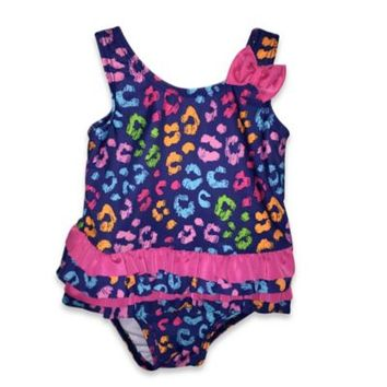 Absorba® 1-Piece Multicolor Cheetah Print Swimsuit in Royal Blue/Pink