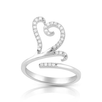 Sterling Silver Wrap Around Open heart Statement Ring