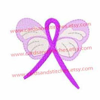 "Butterfly Awareness Ribbon - Machine Embroidery Design - Instant Download - 4"" x 4"" & 5"" x 7"" - 7 Formats Included"
