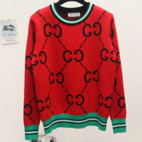 GUCCI 2018 new spring and autumn wild double g letter knit round neck sweater red