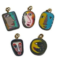 Vintage Face Charms Clay Cane with Rings Set of Five
