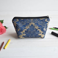 Blue cosmetic pouch, Make Up Pouch, Toiletry bag, Project bag, Travel bag, Coin Purse, Pencil case, Charger bag with zipper, Charger case