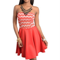 Strapless Chevron Style Dress (Red Coral & White)