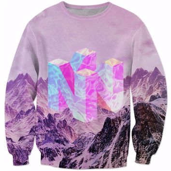 2018 Newest Fashion 3D Printing Men Women Pullovers Nintendo 64 Vaporwave Snowy Mountain Collection Crew Neck Sweatshirt