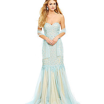 Savannah Nights Floral Beaded Mermaid Tulle Gown | Dillards.com