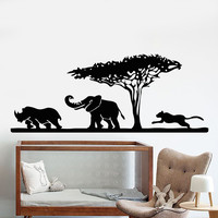Vinyl Wall Decal African Elephant Animals Rhino Leopard Safari Stickers Unique Gift (920ig)