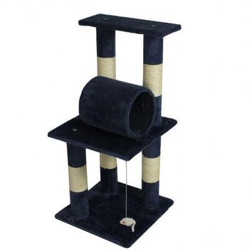 "New Navy Blue Premium 34"" CAT TREE CONDO FURNITURE SCRATCHPOST PET HOUSE 5088"