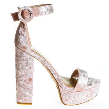 #Tournament06M by Bamboo, Blush Velvet 70's Retro Block Heel Platform Dress Sandal
