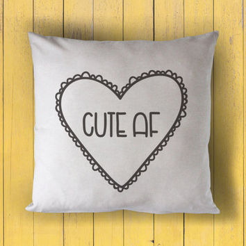 sweet hearts: cute af - printed throw pillow - 5 sizes | valentine + love decor, valentines day