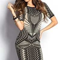 Kiana Black and Tan Shimmery Tribal Print Sweater Dress