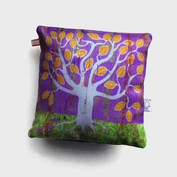 Silk pillow with tree illustration / small decorative cushion