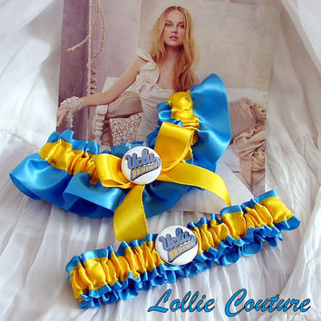 College Garters in satin team colors by lolliecouture on Etsy