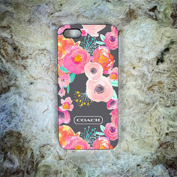 Pretty Coach Floral Print On Hard Plastic Cover Skin For iPhone