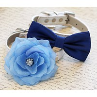Blue Two Chic Wedding Dog Collars, Ocean, Blue Wedding acceossry