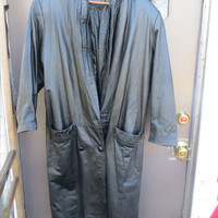 80s Paris Sport Club Leather Trench Coat Long Black Women's Size  small