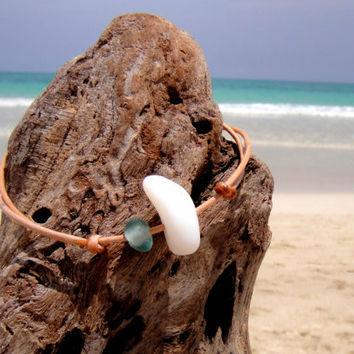 Hawaiian Dark Aqua Teal Tiny and RARE White Milk Beach Glass on India Leather Cord Completely Adjustable & Stackable Bracelet