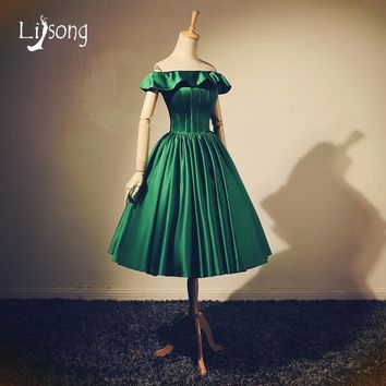 Green Prom Dresses Vintage Off Shoulder Prom Ball Gowns Princess Party Dresses vestido de festa 2018 Ball Dresses Birthday Dress