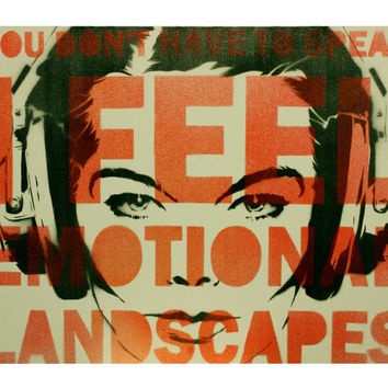 BJORK Portrait JOGA Lyrics 16x20 Icelandic Pop Goddess Painting on Canvas Graffiti Pop Art Inspired Barbara Kruger Banksy Shepard Fairey Art