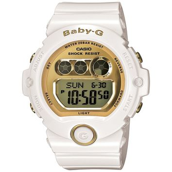 Casio Women's BG6901-7 Baby-G White Resin and Gold-Tone Accented Large Digital Sport Watch