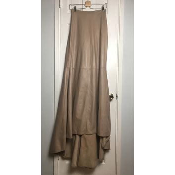 Johanna Johnson haute couture tan leather maxi skirt sz 4/6