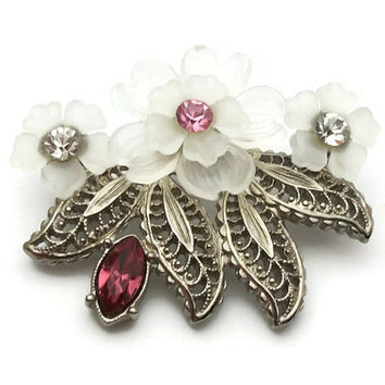 Vintage Celluloid Flower Brooch Pin - SIlver Tone Filigree Metal Translucent Clear White Plastic Pink & Clear Rhinestones - Floral Brooch
