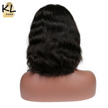 """KL Hair Lace Front Human Hair Bob Wigs 8""""-24"""" Natural Color Brazilian Wavy Remy Hair Bob Wigs For Black Women With Baby Hair"""