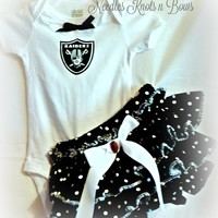 Girls Oakland Raiders Cheerleader Outfit, Baby Girls Football Game Day Outfit, Coming Home Outfit