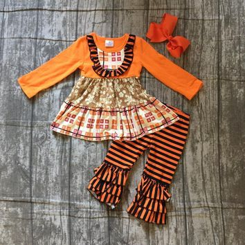 baby girls fall thanksgiving boutique outfits girls orange top dress with stripes ruffle pants boutique clothing with bows