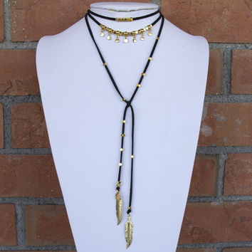 Gold Circle Beaded Lariat