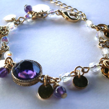 Eco-Friendly Recycled Vintage Jewelry. Purple Rhinestone Bezel with Amethyst and Crystal Dangles. Gold Tone Circle Charms. OOAK.