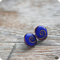 Post earrings Deep blue by Dariami on Etsy