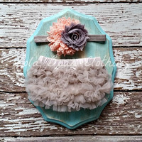 READY TO SHIP Baby Girl Grey Bloomers Peach Grey Headband Newborn Pictures Photography Prop Take Home Outfit