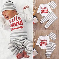 Pudcoco Casual 3pcs Baby Boy Girl Hello World Tops Romper + Striped Long Leggings Pants Hat Cotton Newborn Outfit Clothes 0-18M