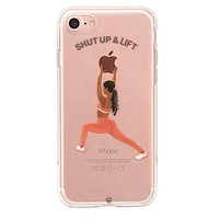 Shut Up & Lift iPhone Case Black Hair Pink Pants