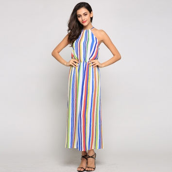 Women Halter Rainbow Stripe Bohemian Maxi Dress