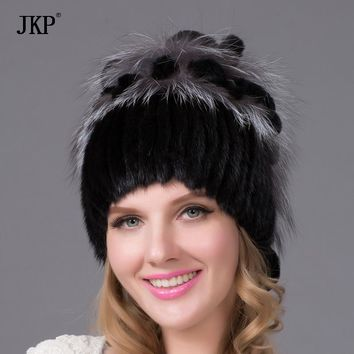 Real mink cap women with fur lining knit cap knitted with puffed rugs Russian style fox fur mink fashion knitted hats good quali