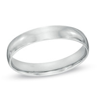 Men's 4.0mm Polished Comfort Fit Wedding Band in Sterling Silver