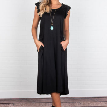 Found Your Way Midi Dress, Black